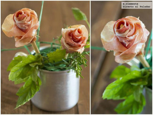 Cómo hacer flores de jamón serrano