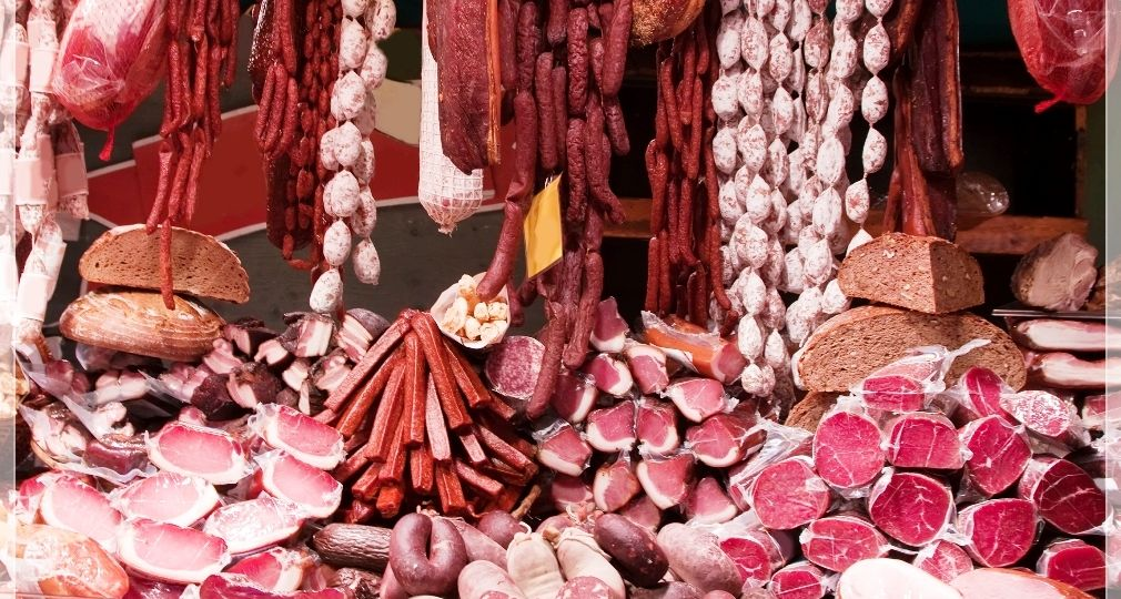 Meat and sausages in market